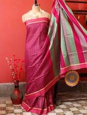 Striped Raw Jute Colourful Saree - Cotton Koleksi
