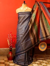Steel Blue Raw Jute Silk Saree - Cotton Koleksi