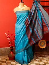 Sky Blue Raw Jute Silk Saree - Cotton Koleksi