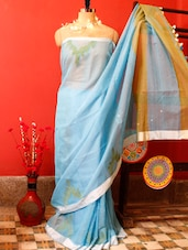Sky Blue Resham Saree - Cotton Koleksi