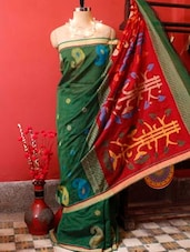 Red And Green Resham Saree - Cotton Koleksi