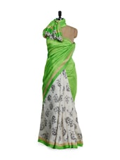 White And Green Silk Saree With Black Rose Prints - Purple Oyster