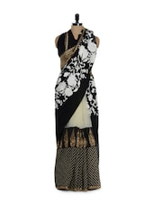 Black Georgette And Net Embroidered Saree - Purple Oyster