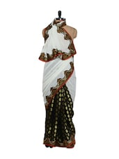 White And Black Georgette Saree - Purple Oyster