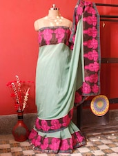 Sea Green Saree With Pink Embroidered Border, With Matching Blouse Piece - Urvashi's