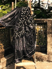 Bold Black Saree With Crystal Work, With Matching Blouse Piece - Urvashi's