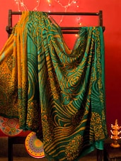 Green And Mustard Georgette Saree, With A Matching Blouse Piece, With Matching Blouse Piece - Urvashi's