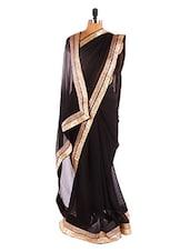 Solid Black Saree With Gold Border - Khantil