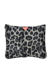 Black And Grey Leopard Print Medium Pouch - HARP