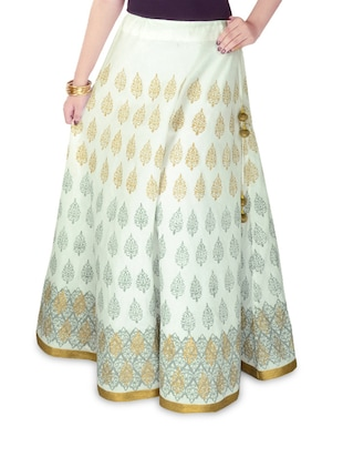 White Block Print Long Ethnic Skirt