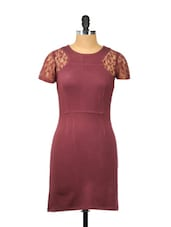Elegant Maroon Dress With Lace Sleeves - Besiva