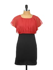 Red And Black Ruffled Sleeved Dress - Besiva