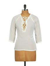White Full-sleeved Top With Tie-ups On The Neck - Besiva