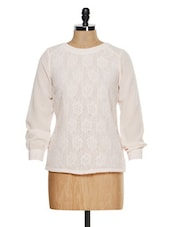 Lace Insert Polyester Cream Top - Besiva