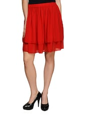 Bright Red Flared Skirt - Besiva