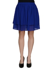 Royal Blue Flared Skirt - Besiva