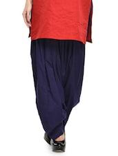 Solid Navy Blue Cotton Patiala Salwar - Stylenmart