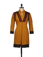 Mustard Cotton Fleece Kurti With Lace Trim - Pretty Angel