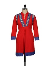 Red Cotton Fleece Kurti With Lace Trim - Pretty Angel