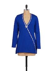 Blue Winter Woolen Shrug - Madrona