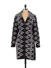 Grey And Black Diamond Knit Long Coat - Madrona