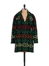 Green Knit And Embroidery Coat - Madrona