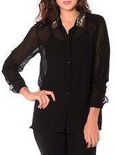 Black Sheer Shirt With Cami - URBAN RELIGION