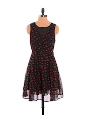 Black Dress With Red Lip Prints - URBAN RELIGION