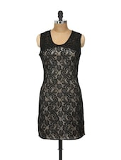 Beige And Black Lace Dress - Shilpkala
