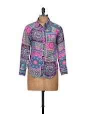 Blue And Pink Printed Shirt - Shilpkala