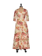 Beige Floral Printed Max Dress - Magnetic Designs