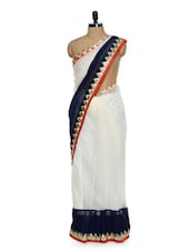 White And Blue Saree With Gold Triangular Border - Sascreations