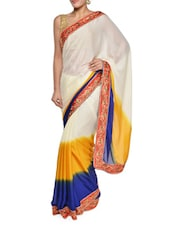 Gorgeous Off-white And Blue Saree With Paisley Border - Sascreations