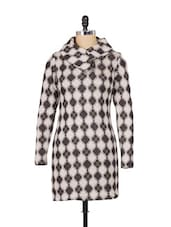 Off-white And Grey Woolen Dress - SPECIES