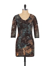 Brown And Green Full-sleeved Dress - SPECIES