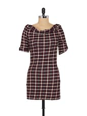 Black And Pink Check Print Dress - SPECIES