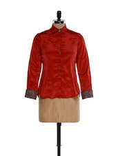 Red Formal Shirt With Printed Cuffs - Kaaryah