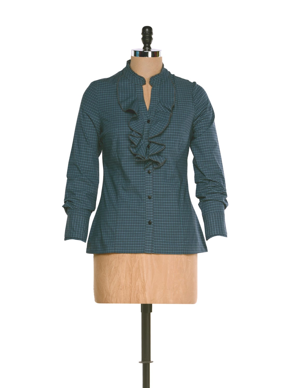 Blue Check Print Formal Shirt With A Frilled Neck - Kaaryah
