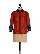 Red Dot Print Formal Shirt With A Collar Neck - Kaaryah