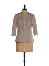 Beige Formal V Neck Shirt - Kaaryah
