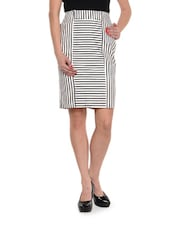 Black And White Striped Skirt - Kaaryah