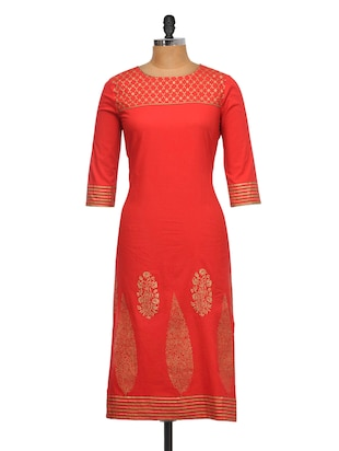 Luxe red kurta with gold details