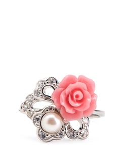 Pink Rose, Pearl And Sterling Silver Ring - Tanya Rossi, Italy
