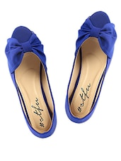 Bow Inspired Peep Toe Blue Flats - SINDHI FOOTWEAR