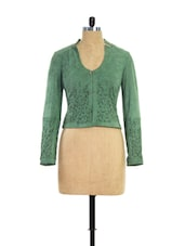 Mossy Green Laser Cut Suede Leather Jacket - THEO&ASH