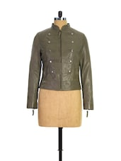 Olive Green Leather Jacket - THEO&ASH