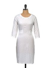 White Polka Dot Print Dress - Meira