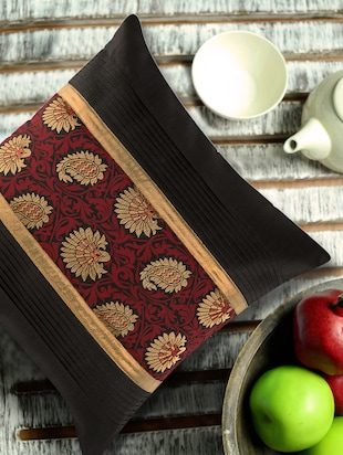 Black pleated Cushion cover with maroon and gold brocade