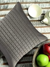 Grey Cushion Cover With Checkered Cubes In The Centre - ANS