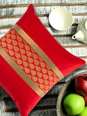 Red Cushion Cover With Leaf Motif Brocade And Ribbed Patti - ANS